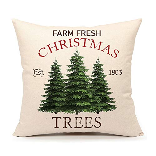 4TH Emotion Farm Fresh Christmas Tree Throw Pillow Cover Farmhouse Green Cushion Case for Sofa Couch 18x18 Inches Cotton Linen