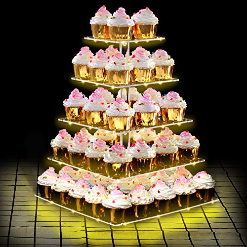 Dawoo 5-Tier Cupcake Ständer Acryl, Etagere Cupcake mit gelbem LED-Licht, Gebäckkuchenständer für Nachmittagstee bei Hochzeitsgeburtstagsfeier