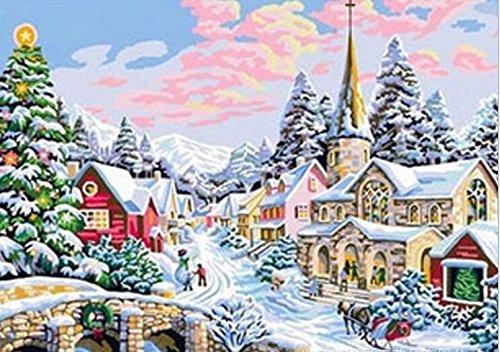 Queenlink complète Collez-le DIY carré Diamant Broderie peintures Strass Croix Arbre de Noël
