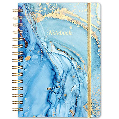 """Ruled Notebook/Journal - Lined Journal with Hardcover and Premium Thick Paper, 6.3"""" x 8.4"""", Spiral Notebook with Strong Twin-Wire Binding & Back Pocket, Blue Pattern"""