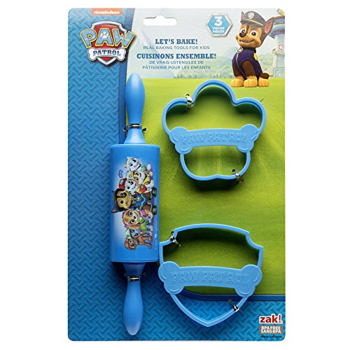 Nickelodeon PWPE-S100 Lets Rolling Pin Cutters for Cooking Patr Paw Patrol 3-piece Kids Baking Set for Cookies by Zak! Designs, 0, Boy