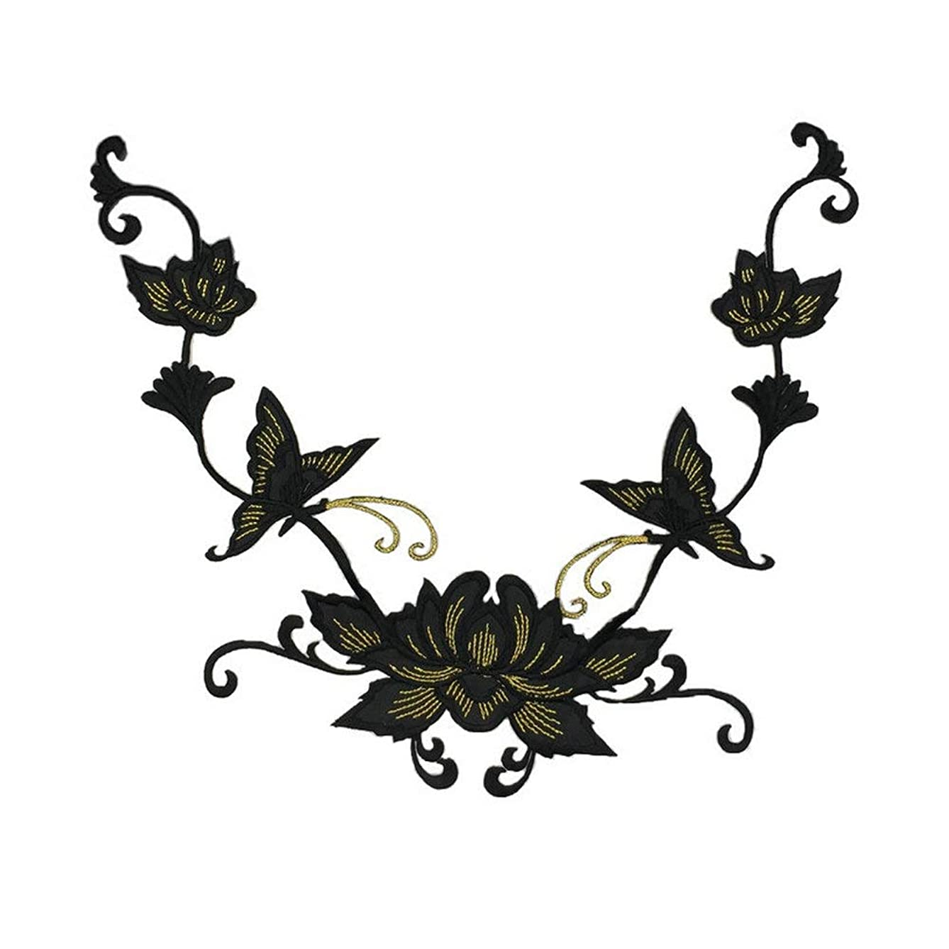 Butterflies Flower Applique Clothing Embroidery Patch Fabric Sticker Iron on Sew on Patch Craft Sewing Repair Embroidered (Black)