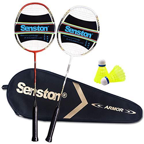 Senston - 2 Pack Badminton Rackets Double Badminton Racquets Carbon Fiber Shaft Racquets Badminton Set White Red