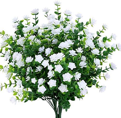 Ancokig Flores Artificiales 4 Piezas Resistentes UV Plantas para Colgar en Interiores...