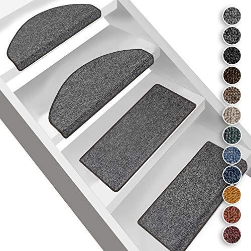 Floordirekt Stufenmatten London | Halbrund oder Eckig | Treppenmatten in 11 Farben | Strapazierfähig & pflegeleicht | Stufenteppich für Innen (Dunkelgrau, Halbrund 19 x 56 cm)