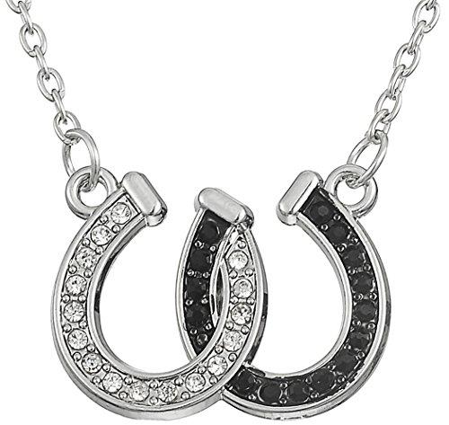 Lemegeton - Collana con ciondolo a forma di con doppio ferro di cavallo, gioiello, ottimo regalo per ragazze, colore: bianco e nero, con cristalli