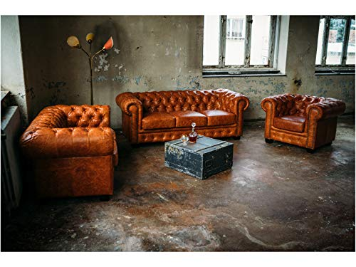 Woodkings® Chesterfield Sofa Set Cracked Braun 1+2+3 Vintage Echtleder Couchset Bürosofas Polstermöbel Set antik Designsofaset Federkern unikat Herrenzimmer englisches Leder Stilsofa Set