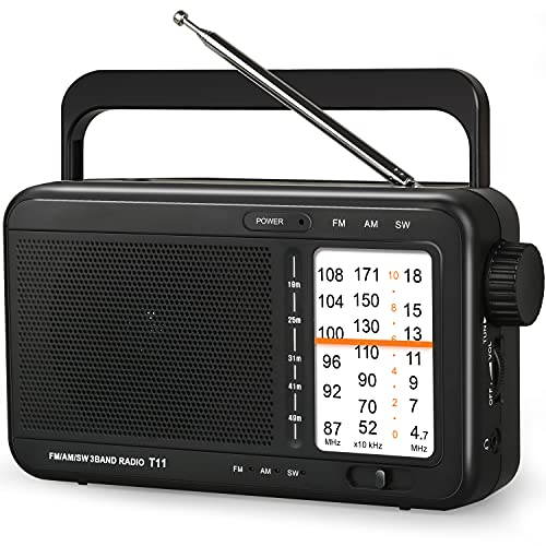 Portable AM FM SW Radio Shortwave Radio Transistor Battery Operated Radio by 3 D Cell Batteries Or AC Power with Excellent Reception,Good Sounds,Clear Display Panel,Large Knob,Earphone Jack