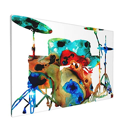 Impresiones de arte de pared,Tambor Música Músico Banda Rock Jazz Batería, Pintura moderna enmarcada óleo sobre lienzo para sala de estar dormitorio principal Decoración 18x12 pulgadas
