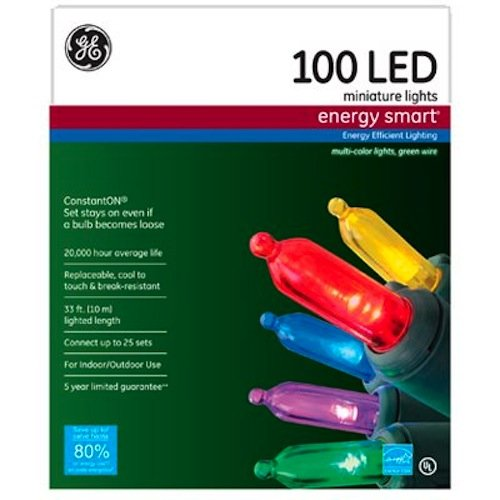 GE Nicolas Holiday GE97135 Energy Smart Colorite Miniature Lights, Multi Color Green Wire, 100 LED