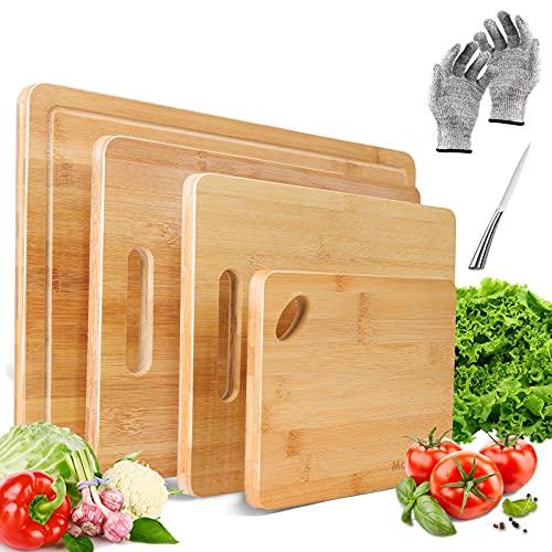Masthome Tagliere in bambù Set 4 Pezzi Taglieri da Cucina con Scanalatura per Il Succo e Manico Set di Taglieri in bambù per Carne, Verdure, Formaggio, Frutta