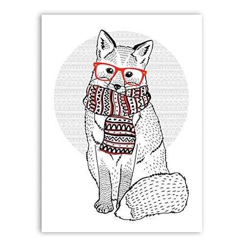 GASFG schattige vos, die glazen schaal - dierposter - canvasdoek schilderkunst wanddecoratie draagt Gerahmt 64x80cm