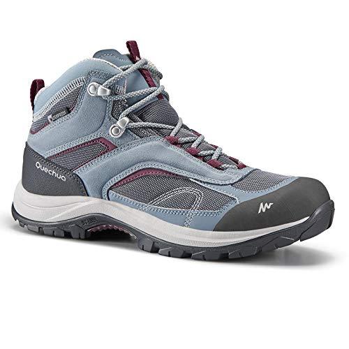 Quechua Women's Mountain Walking Waterproof Shoes MH100 Mid - Blue Purple (UK 7 - EU 41)