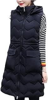 Womens Casual Zipper Slim Fit Long Puffer Hooded Down Vest Sleeveless Coat