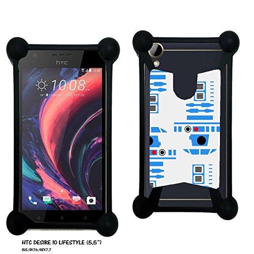 Case Industry HTC Desire 10 Lifestyle - Robot R2 Bleu Collection Pattern Skin- Kunstleder Case Lederoptik Case Hülle Schutzhülle Handyhüllen Handycase Schale Tasche