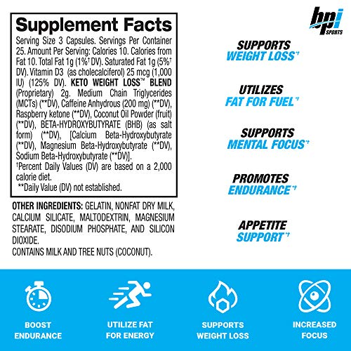 BPI Sports Keto Weight Loss - Ketogenic Fat Burner - Keto Weight Loss Pills - Raspberry ketones - Supports Mental Focus - Promotes Endurance - Burn Fat for Fuel - 75 Capsules 2