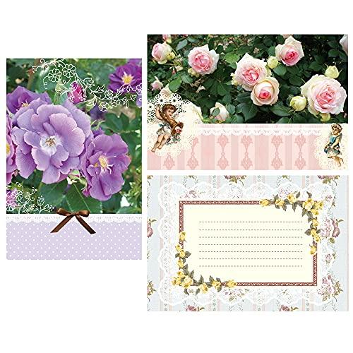 MaBF ポストカード 12枚セット UPR-0275 薔薇3柄セット(3柄×各4枚) オリジナルデザイン 薔薇柄 ネコ柄