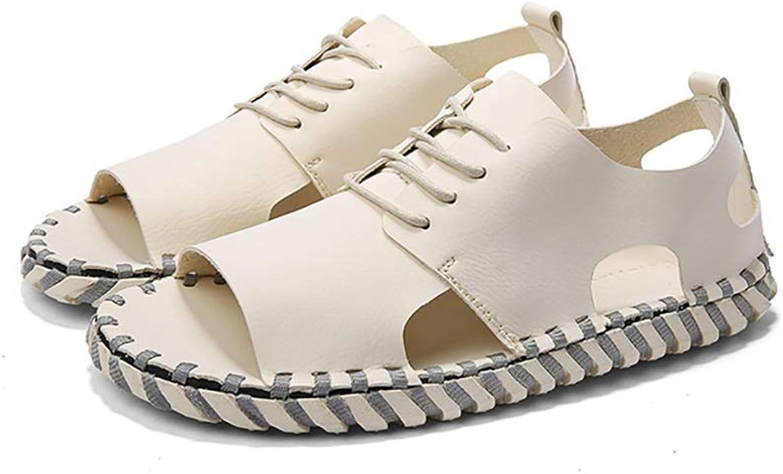 LQ Men's sandals Men's outdoor casual sandals, handmade Roman shoes, open toe beach shoes, multi-color optional sewing shoes (color   B, Size   40)
