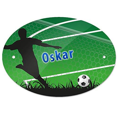 Eurofoto Türschild mit Namen Oskar und Motiv mit Fußballer und Tor für Jungen | Kinderzimmer-Schild