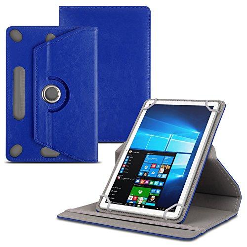 Schutzhülle kompatibel für Odys Space One 10 Tablet Kunstleder Standfunktion Hülle Schutztasche Tasche 360 Drehbar, Farben:Blau