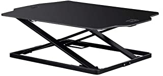 Monoprice Ultra Slim Height Adjustable Sit Stand Riser Table Top Converter - Black | Easy Lift, 21.3 X 31.3 Inch Area, Adjustable from 1.2 to 15.7 Inches - Workstream Collection