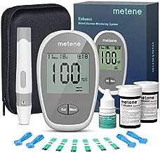 Metene Enhance Blood Glucose Monitor Kit, 100 Glucometer Strips, 100 Lancets, 1 Blood Sugar Monitor, Blood Sugar Test Kit with Strips and Lancets (Model: Enhance)