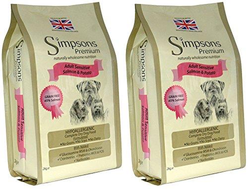 Simpsons Premium Adult Sensitive Lachs und Kartoffeln Trockenfutter für Hunde, 2 x 12 kg