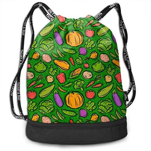 XCNGG Mochila con cordón Colorido Alimentos saludables Verduras Paquete multifuncional Mochila Mochila con compartimento para zapatos Bolsa de cuerda para hombres Mujeres Adolescentes Natación Deporte