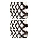 Paquete de 2 celosías extensibles – Panel para enrejado de jardín de madera 40 x 20 x 5 cm – Soporte para plantas, panel para valla de sauce para plantas trepadoras, vid rosas, color marrón