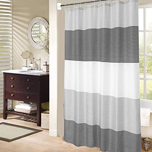 """Mens Stall Shower Curtain for Bath Neutral Black and Grey Striped Pattern, Waterproof Polyester Fabric Cloth, 6 Hooks 36"""" W×72"""" H Inch"""
