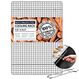"""18/8 Stainless Steel Cooling Rack for Baking with Lifting Handle, 11.8""""x 16.5"""" Baking Rack, Oven and Dishwasher Safe, Wire Rack for Cooking, Roasting, Grilling, Fit Half Sheet Pan"""