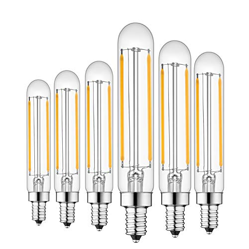 Rayhoo E12 Dimmable LED Candelabra Light Bulbs 4W 110V Edison Light Bulb, T20 Tubular Shape, 400LM, 40W Incandescent Replacement, 2700K Warm White, 6-Pack