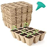 GROWNEER 24 Packs Peat Pots Seed Starter Trays, 288 Cells Biodegradable Seedling Pots Germination Trays, Organic Plant Starter Kit with 15 Pcs Plant Labels