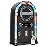 Wicked Gizmos Jukebox Entertainment Centre with Bluetooth, CD Player and Radio with Colourful LED Lighting and Fabric Front (Grey Fabric)