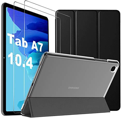IVSO für Samsung Galaxy Tab A7 Hülle + für Samsung Galaxy Tab A7 Panzerglas[2 Stücke], Hülle mit Bildschirmfolie für Samsung Tab A7 10.4, Cover für Samsung Galaxy Tab A7 (Black)