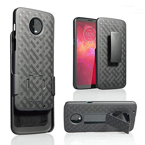Moto Z3 Play, Motorola Moto Z Play 3nd Gen Phone Case Belt Clip Holster Kick Stand Rugged Shield Slip Resistant Grip Grids Bumper Cover (Black)