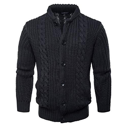 Wantess Suéter de Solapa para Hombre Chaqueta de Punto Tejido Trenzado Engrosamiento Personalidad Europea y Americana Tendencia Casual Cardigan Tops XX-Large