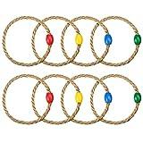 Shappy 8 Piezas Anillos de Juegos de Lanzamiento de Madera Aros Tejos Circulares de Juego de Lanzar de Jardín Tejas de Cuerda de Madera Juguetes al Aire Libre para Juego de Aros