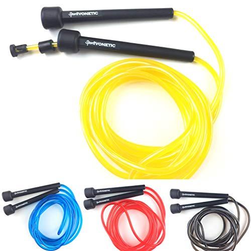 Sportivonetic Springseil für Erwachsene & Kinder, Damen & Herren – für Fitness, Crossfit, Sport, Boxen und Freizeit -Verstellbare Größe-mit Einstellklammer– Speed Rope, Jump Rope, Sprungseil (Gelb)