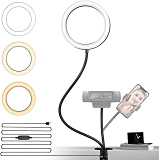 NexiGo 6 Inch LED Selfie Ring Light with Cell Phone Holder, Flexible Arms for Web Camera, 3 Dimmable Colors, 10 Brightness...
