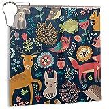 Xinfub Animal Forest Pattern tela de poliéster con estampado artístico para cortina de ducha, impermeable, cortina de ducha, incluye gancho, 182.88 x 182.88 cm
