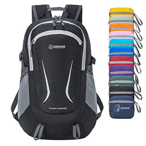 ZOMAKE Ultraleicht Faltbarer Rucksack, 35L Klein Wasserfest Wandern Daypack Faltbarer Reiserucksack für Männer Frauen im Freien (Schwarz)