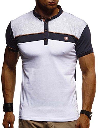 Leif Nelson heren zomer T-shirt polo kraag slim fit katoenaandeel basic zwart mannen poloshirts longsleeve sweatshirt korte mouwen witte korte mouwen lange LN1420