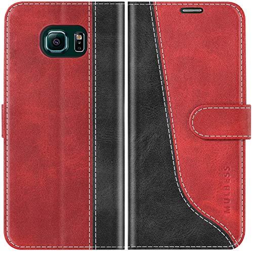 Mulbess Handyhülle für Samsung Galaxy S6 Edge Hülle, Samsung S6 Edge Hülle Leder, Etui Flip Handytasche Schutzhülle für Samsung Galaxy S6 Edge Hülle, Wine Rot