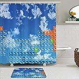 Juego de cortinas y tapetes de ducha de tela,Ciencia claro cielo abierto con nubes y patrón de tabla de química Estudi,cortinas de baño repelentes al agua con 12 ganchos, alfombras antideslizantes