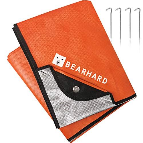 Bearhard 3.0 Heavy Duty Emergency Blanket, Emergency Tarp, Insulated Blanket, Thermal Waterproof Survival Space Blanket for Hiking, Camping, Orange