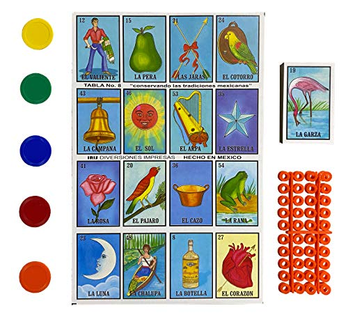 Loteria Mexicana Tradicional Jumbo para 20 Jugadores con 100 Fichas Extra - Traditional Jumbo Size Mexican Bingo Set with 100 Counting Chips for 20 Players with Deck of Cards and Boards