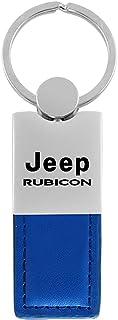 Au-Tomotive Gold, INC. Jeep Wrangler Rubicon Blue Leather Car Fob Key Chain Ring
