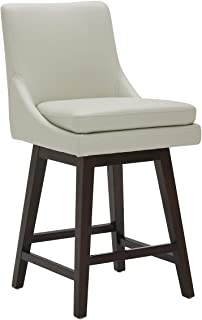 """CHITA Counter Height Swivel Barstool, Upholstered Leather Bar Stool, 26"""" H Seat Height, Light Grey"""
