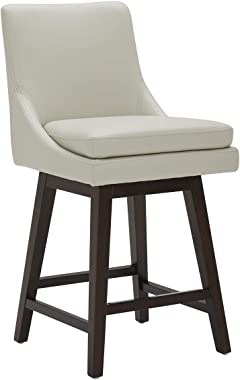 "CHITA Counter Height Swivel Barstool, Upholstered Leather Bar Stool, 26"" H Seat Height, Light Grey"